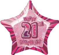 "Glitz 20"" Star Balloon Pink - Age 21"